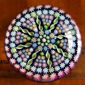 """LARGE VTG Perthshire Scotland Art Glass Millefiori Large 3"""" paperweight Signed"""