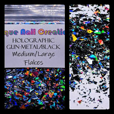 MEDIUM&LARGE FLAKES~Holographic Black-Nail Art•Acrylic•Gel•Face•Festival•Crafts