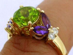 R233 Genuine 9K or 18K Gold Natural Peridot, Amethyst & Diamond Suffragette Ring