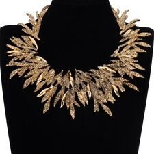 Choker Chunky Statement Pendant Necklace Fashion Women Vintage Gold Leaves Leaf