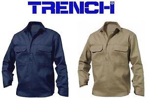 Cotton Drill 1/2 Closed Front Shirt - Long Sleeve - Navy-Khaki