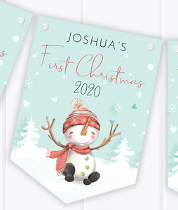 Personalised First Christmas Bunting, Baby's 1st Xmas Decoration Banner