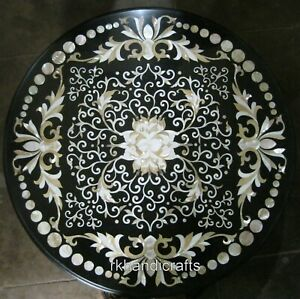 24 Inches Mother of Pearl Inlaid Center Table Top Round Marble Coffee Table Top