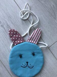 Cute Girls Shoulder Strap Bag, Rabbit, Blue& Pink Zip On Back Lovely Easter Gift