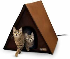 New listing Multi Cat Heated A Frame House Outdoor Waterproof Shelter Kitty Bed 2 Doors Safe