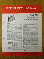 Fidelity RAD 12 Radio Service Card - Vintage Radio Audio 60's 70's 80's