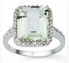 GREEN AMETHYST & DIAMOND SILVER RING 6.06  CWT  LARGE SETTING FEBRUARY BIRTHDAY