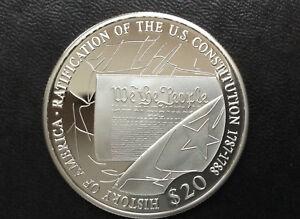 2006 Republic of Liberia Ratification of U.S. Constitution $20 Silver Coin A2441