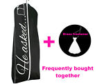 He Asked She Said Yes Black Garment Bag - XL Bride Wedding Gown Storage Cover