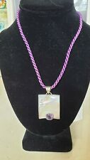 M HOWELL AMETHYST PENDANT STERLING SILVER MOTHER OF PEARL INLAY NECKLACE PURPLE