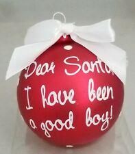 "Santa Good Boy Funny Christmas Glass Ornament Red 3"" Ball Gift Kurt Adler"