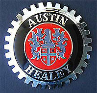 NEW Indoor/Outdoor Austin Healey Badge Emblem- Adhesive Backed- Chromed Brass