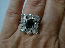 LADIES STUNNING ANTIQUE ART DECO PLATINUM & DIAMOND COCKTAIL RING ~ SIZE 6.75