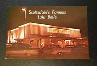 Printed Postcard - Scottsdale Arizona - Lulu Belle Restaurant Bar Old Cars