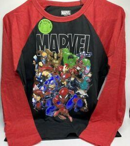 Boy's Size M(10/12) Marvel Group Raglan Long Sleeve Tee Spiderman & More