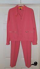 St John sz S Flamingo Pink Full Zip Jacket Pant Suit