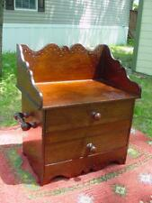 1800s Handmade Dresser Style Jewelry Box 2 Drawer Fancy Details~ Crackled Finish