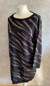 Womens Evans Size 20 Animal Print Glitter Jumper Slouchy Winter Black