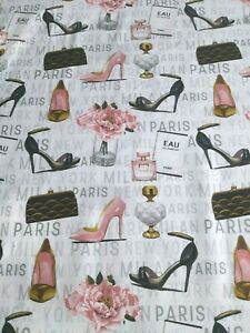 Forever Fashion Glam White Cotton Fabric~Paris Perfume Shoes Floral~By 1/2 Yard