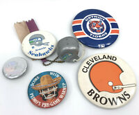 Sports PinBack Button Lot 5 NFL Browns Seahawks Broncos MLB Tigers 1980s 90s Vtg