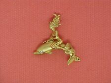 14K Yellow Gold Mermaid Riding Dolphin with Diamond Steven Douglas Design