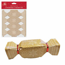 Pack of 6 Christmas Cracker Kit - Make / Fill your own - Beige / Snowflake