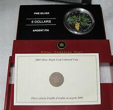 2005 Canada Silver Maple Leaf $5 dollars Bigleaf Maple color 1 OZ -.9999  COA