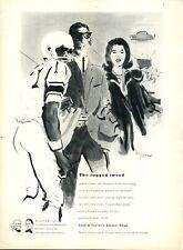 1961 Lord & Taylor Fashion Herringbone Wool Suit Football ART PRINT AD