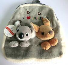 1x Australian Souvenir Plush Backpack - Grey Koala & Kangaroo - I Love Australia