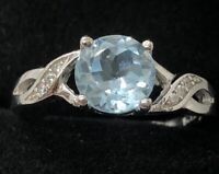 Vintage Sterling Silver Ring 925 Size 7.5 CZ Band Blue Topaz Crossover