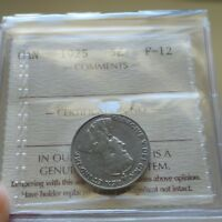 1925 Canada 5 Cents Coin - ICCS F-12 RARE KEY DATE - Old ICCS 2 Letter $125 BV