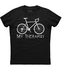 My Therapist Cycling Motivation Mens Short Sleeve New Cotton Black T-shirt
