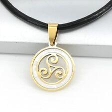 Gold Triskelion Triskele Celtic Stainless Steel Pendant Black Leather Necklace