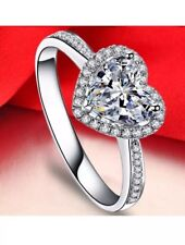 .925 Sterling Silver Heart Clear Cz Fashion Promise Ring Size 6-10