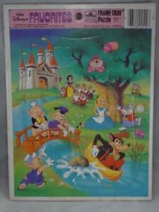 Golden Frame-Tray Puzzle Walt Disney's Favorites Vintage Alice Snow White 1984