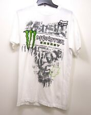 New PacSun Mens Fox Racing x Monster White Cotton Graphic Tee T-Shirt Size Med