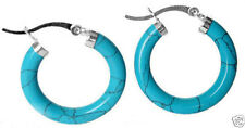 New Fashion Turquoise Sterling Silver Snap Closure Hoop Earrings