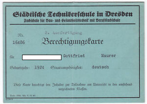 Städt. Technikerschule Dresden Berechtigungskarte 1942 Bautechnik Gesundheit