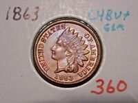 1863 CN INDIAN HEAD CENT CHOICE GEM BU NICE COLOR LUSTER BETTER DATE COIN