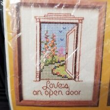 Vintage Cross Stitch Kit Loves An Open Door 1630 Yarn 1984 Creative Circle Herta