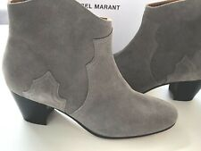 ISABEL MARANT 38  DICKER boots grey NEUF new BOX DUST BAG SAC cuir leather UK 5
