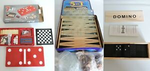 Assorted Family Classic Game Compendium Heavy Glass Chess Dominoes