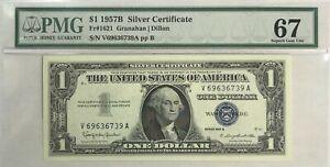 1957 B Silver Certificate Granahan Dillon PMG 67 Superb Gem Unc