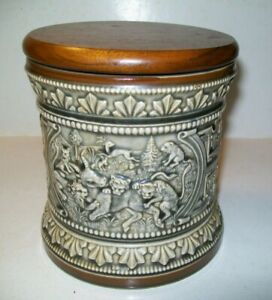 Vintage MARZI & REMY Pipe Tobacco Ceramic HUMIDOR JAR  Made In Germany VG