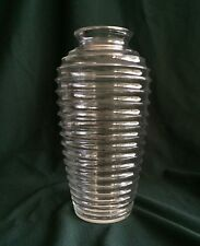 """Anchor Hocking Clear Glass Bee Hive Vase 9"""" Made In Usa"""
