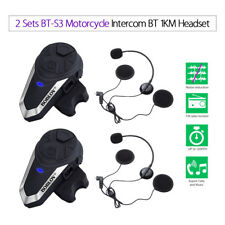 2x BT-S3 Motorrad Intercom 1 KM Headsets Lautsprecher Wireless Bluetooth Musik