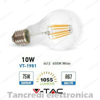 Lampadina led V-TAC 10W = 75W E27 bianco freddo 6000K VT-1981 A67 filamento bulb