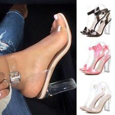 Women Summer Casual Perspective Sandals Heels Transparent Sandals shoes AUHF