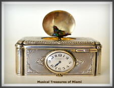 Antique Silver Singing Bird Music Box Automaton With Clock