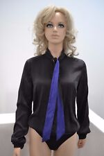 Wolford Tie String Body Woman Bodysuit 38 nearly black/lila Seide Silk